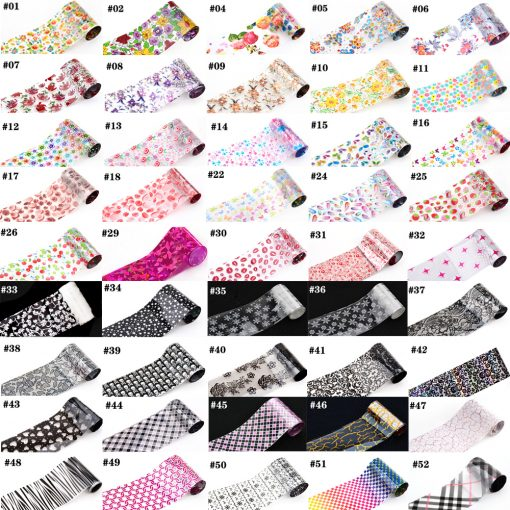 93 Designs 1 Piece Colored Nail Transfer Foil Sticker Laser Line White Black Flower Lace Decal Nail Art Sticker Wrap Holographic 2