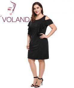 IN'VOLAND Summer Women Black Dress Plus Size Sexy Off Shoulder Elegant Ruffles Party Dresses Beach Dress 1