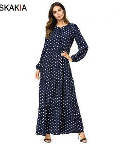 Siskakia polka dot print long dress solid ruffles swing patchwork maxi dresses bishop sleeve plus size women dress Autumn 2018