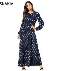 Siskakia polka dot print long dress solid ruffles swing patchwork maxi dresses bishop sleeve plus size women dress Autumn 2018