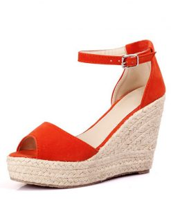 MCCKLE Plus Size Bohemian Women Sandals Ankle Strap Straw Platform Wedges For Female Shoes Flock High Heels Cover Heel Sandal 1
