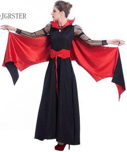 DJGRSTER 2018 New Black Evil Vampire Bat Costume Batman Party Cosplay Devil Batman Carnival Cosplay Black Red Woman Dress