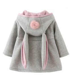 Cute Rabbit Ear Hooded clothes Coat New Spring jackets for Girls Autumn Warm Kids Outerwear Children Clothing Baby windbreakers 1