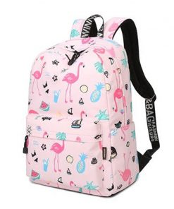 Waterproof Women Backpack Cute Bookbag Pink Flamingo Animal Knapsack Printing School Bagpack Bag for Teenage Girls Mochila 1