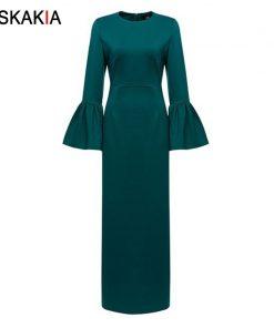 Siskakia women long dress Formal Elegant ladies party dress Dinner Evening maxi dresses Muslim solid high waist pencil dress New