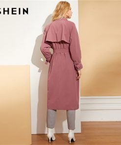 SHEIN Burgundy Waist Belted Solid Long Coat Highstreet Casual Long Sleeve Plain Coats Office Lady Autumn Minimalist Outwears 1