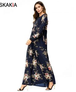 Siskakia Floral long Dress Muslim Elegant Vintage High Waist Swing Maxi Dresses Bishop Sleeve Tassel Drawstring print Dress Navy 1