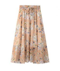 2018 Summer Women Long Chiffon Skirts Flower Print Boho High Waist Women Skirts Jupe Femme Women Floral Skirt Saia Faldas 1