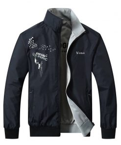 2018 The New Jacket Male Spring Autumn Zipper Embroidery Printing Double Surface Brand Jacket Men'S Casual Thin Jacket Coat 1