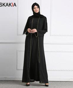 Siskakia Muslim Abaya Women Fashion Beading patchwork Muslimah kaftans and Jubah Female Ramadan Prayer robes brief elegant tunic 1
