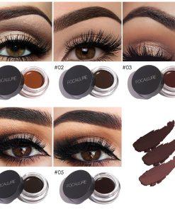 FOCALLURE Eyes Comestic Waterproof Eye Liner Gel Makeup Long Lasting Liquid Eyeliner Cream Eyeliner Makeup Set + Black Brush 1