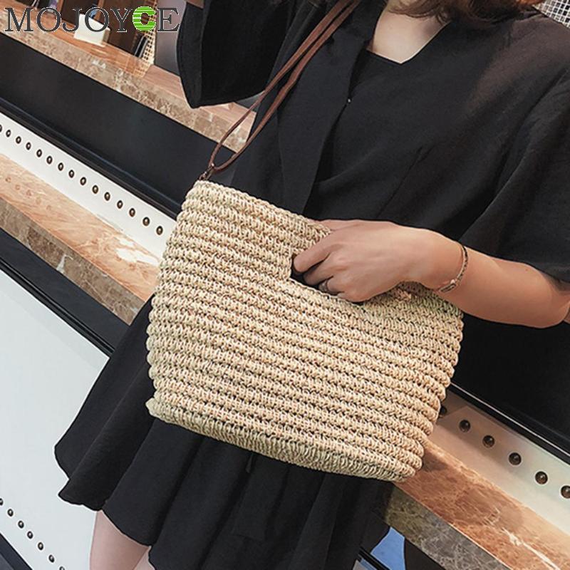 Women's Weave Straw Hand Bag Shoulder Tote Bag Bucket Summer Beach Messenger Bags Women Bag Braided Bolsa Feminina bolso mujer  1