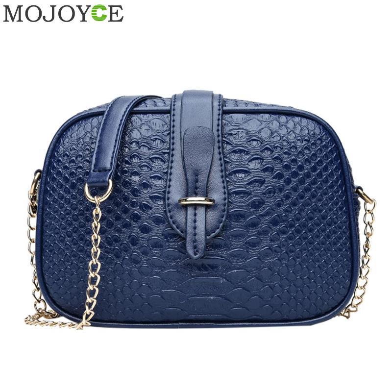 Crocodile 2018 Vintage Women's Bag Hit Color Crocodile Pattern Leather Shoulder Bag Round Women's Handbags Chain Messenger Bag