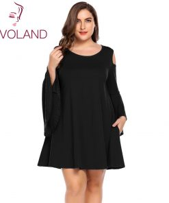 IN'VOLAND Big Size 4XL Women Party Dress Sexy Casual Cold Shoulder Flare Sleeve Tunic Dresses Large Feminino Vestidos Big Size
