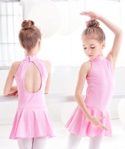 Turtleneck Ballet Dress Girls Dance Clothing Sleeveless Training Ballet Dance Wear For Kids
