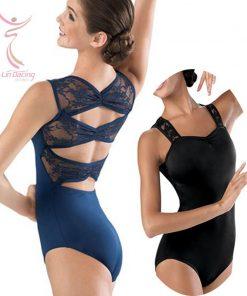 Spandex Ballet Clothing Dance Gymnastics Wear Stretch Lace Strap Back Body Black Leatard 1