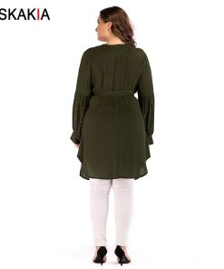 Siskakia Single-breasted Beading patchwork design women dress Autumn 2018 round neck long sleeve knee length dresses Solid Green 1