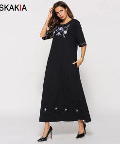 Siskakia Black Causal long dress Dubai Arab UAE Moslim T shirt dresses Brief Elegant slim maxi dress Vintage ethnic Embroidery 1