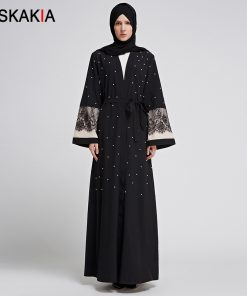 Siskakia Muslim Cardigan abaya Female lace patchwork Beading design Women tunics with pockets Islam Muslimah Prayer clothing UAE