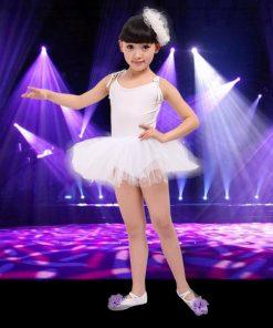 White red pink  blue Ballet Dress For Children Gauze Gymnastics Leotard For Girls Kids Gown 1