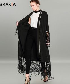 Siskakia Fashion Tassel Cardigan robes Muslimah Beading abaya lace hollow out patchwork design Jubah female Tall plus size tunic 1