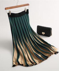 2017 Women Knitted Pleated Skirt Autumn Winter Color Patch High Waist Women Long Skirt Female Warm Ladies Maxi Midi Skirt Saia