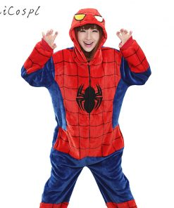 Spiderman Pajama Female Onesie Anime Cosplay Costume Winter Warm Flannel Super Hero Nightwear Cartoon Mascot Kigurumi Fancy