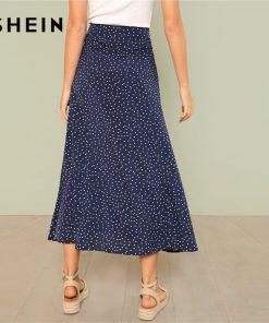 SHEIN Multicolor Vacation Boho Bohemian Beach Polka Dot Split Zipper Button Full Length Mid Waist Skirt Summer Women Skirts 1