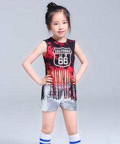 Children Tassel Jazz suit leaked umbilical team Cheerleading Performance Girls Hip hop Modern Clothes Set