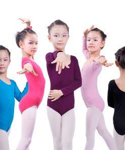 Girl Leotard Long Sleeve Cotton Ballet Dance Clothing Female Ballet Gymnastics Dancewear
