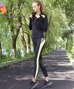 Andzhelika Women's Yoga sets New Yoga Running Fitness Tights Long Sleeve Yoga Top Sports Slim Leggings Elastic Jogging Pants 982 1