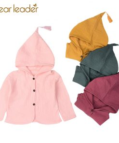 Bear Leader Girls Coats and Jackets Kids 2018 New Baby Clothing Tassel Hat Design Cotton Wrinkle Children Cardigan For 2-5 Year