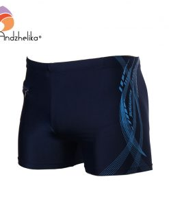 Andzhelika 2018 New Men Breathable Men's Swimsuits Swimming Trunks Sport Briefs Swim Suits Maillot De Bain Zipper Beach Shorts