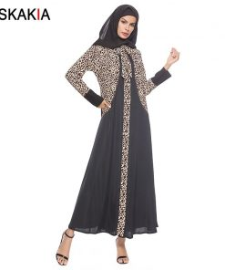 Siskakia Muslim Abaya Formal Dressing Gowns For women Fashion Leopard print patchwork design robes Female Ramadan Jubah Arab UAE 1