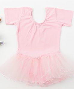 Summer Short-Sleeved Cotton Children's Ballet Leotard Dress Snap Crothed Girls Dance Uniforms 1