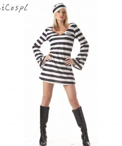 Prisoner Cosplay Costume For Halloween Men Women Funny Party Fancy Adult Black White Stripe  Carnival Festival  Clothes