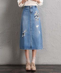 2018 Vintage Floral Embroidery Women Skirts Plus Size Women Autumn 4XL Long Skirts Femme Women High Waist 5XL Denim Skirts 1
