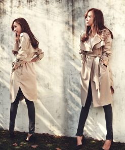 JAZZEVAR new spring autumn fashion Casual women's khaki Trench Coat long Outerwear loose clothes for lady with belt 1