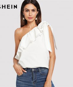 SHEIN Beige Party Sexy Elegant Backless Ruffle Trim Knotted One Shoulder Solid Top Summer Women Weekend Casual Going Out Vest