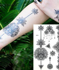 1PC Fashion Flash Waterproof  Tattoo Women Black Ink Henna Jewel Sexy Lace BJ019 Flower Pendant Wed Henna Temporary Tattoo Stick