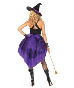 Plus Size XXL-S Halloween Witch  Adult Sexy Carnival Party Female Suit Costume For Women Purple Swallow Tail Braces Dress Hat  1