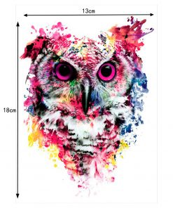 1 Sheet Colorful Drawing Temporary Tattoo Women Men Body Art Catoon Owl Decal Design KM-014 Waterproof Tattoo Sticker Watercolor 1