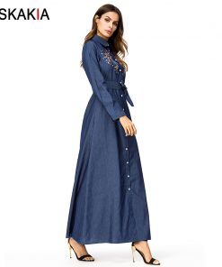 Siskakia Denim long dress maxi Tall women A line swing dress Single-breasted lapel Shirt Dresses Autumn Chic Flower Embroidery 1