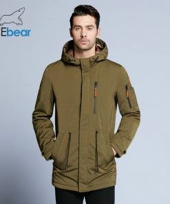 ICEbear 2018 Trench Coat For Men Adjustable Waist Hat Detachable Autumn Men New Casual Medium Long Brand Coats 17MC017D 1
