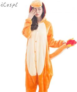 Charmander Pajama Pokemon Cosplay Costume Women Adult Kigurumi  Cute Animal Onesie Flannel Warm Winter Sleepwear Party Fancy