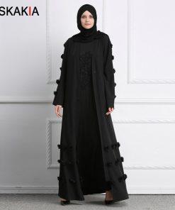 Siskakia Muslim Cardigan Abaya 3D Flower design women Gowns Solid fashion Ramadan Robes Musulman kaftans and Jubah UAE Eid Adha 1