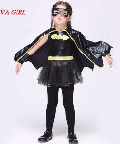 LIVA GIRL Child Animal Cosplay Cute Bat Costume Kids Halloween Costumes For Girls Black Jumpsuit Connect Wings Cosplay Batman