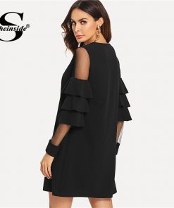 Sheinside Ruffle Sleeve Black A Line Work Dress Round Neck Contrast Mesh Tiered Layer Straight Women Fall Elegant Mini Dress 1