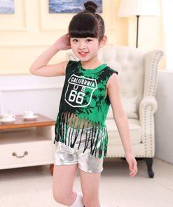 Children Tassel Jazz suit leaked umbilical team Cheerleading Performance Girls Hip hop Modern Clothes Set 1