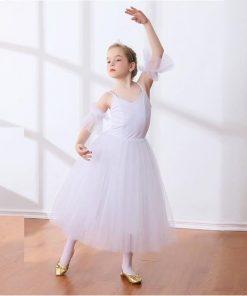 Children Lyrical Ballet Skirt Kids Girls Empire Waist Ballet Dance Dress White Ballerina Costumes Back zipper Dancer Outfit
